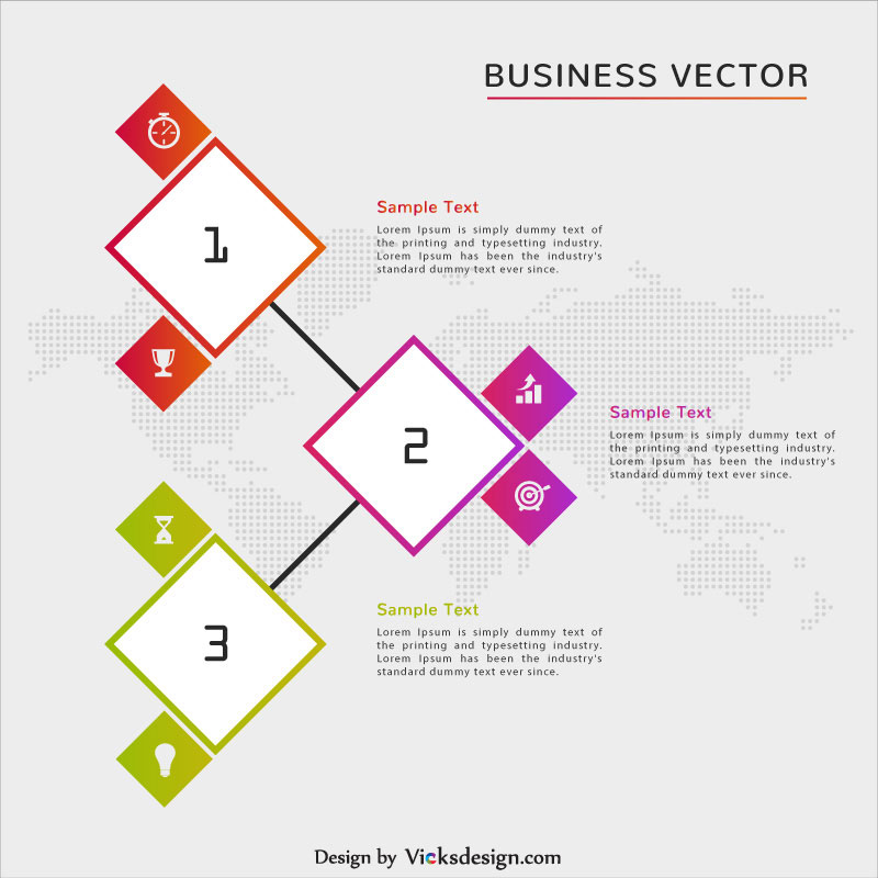3 steps business infographic vector with world map vector illustration gumiabroncs Images