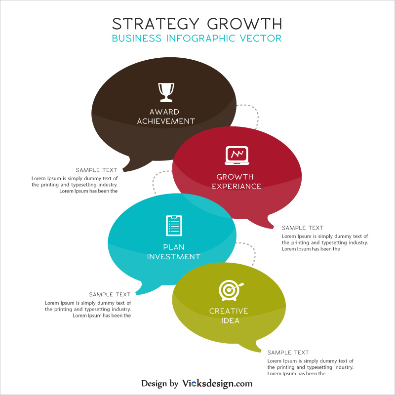 4 points strategy growth business info graphic, market success, marketing overview 4 steps, company growth business vector