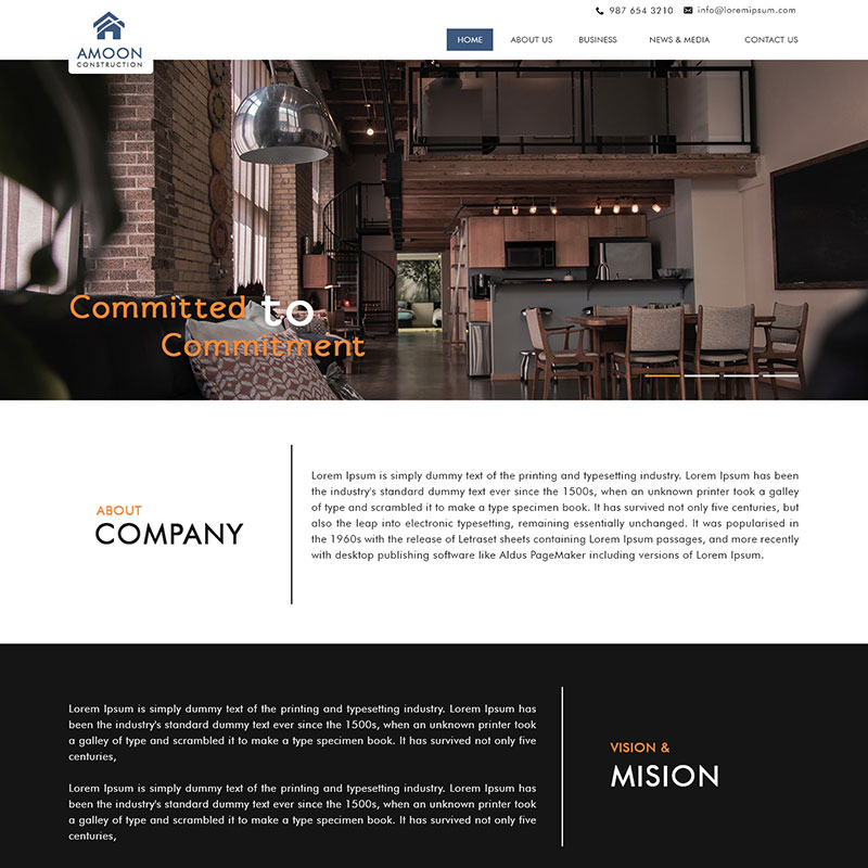 Amoon Construction grey & orange color theme PSD website template