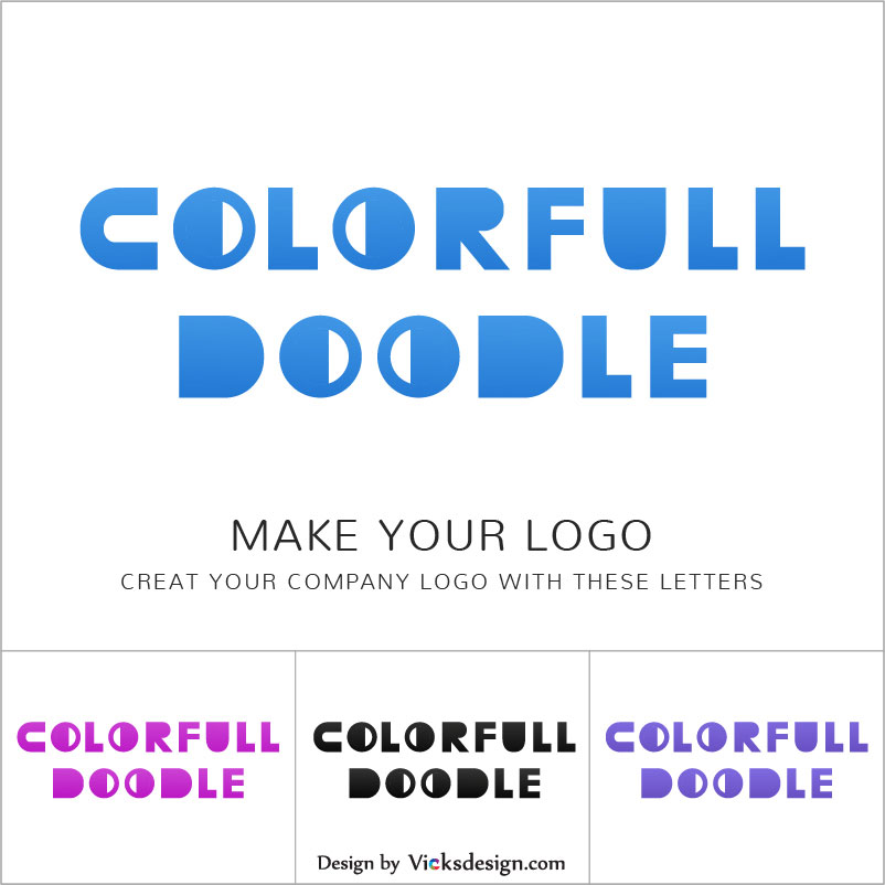 Colorful doodle logo, make your company logo with these letters vector design logo