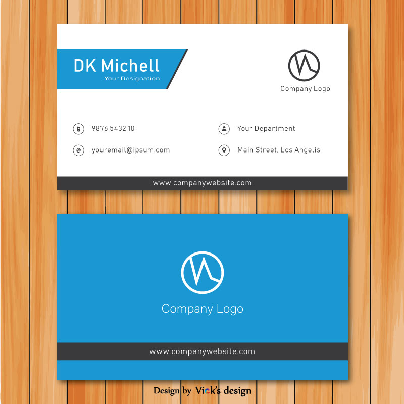 Blue theme front back design corporate business card template vector reheart Images