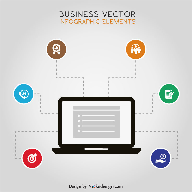 Business info graphic network in laptop, infographic online marketing network, strategy concept vector design