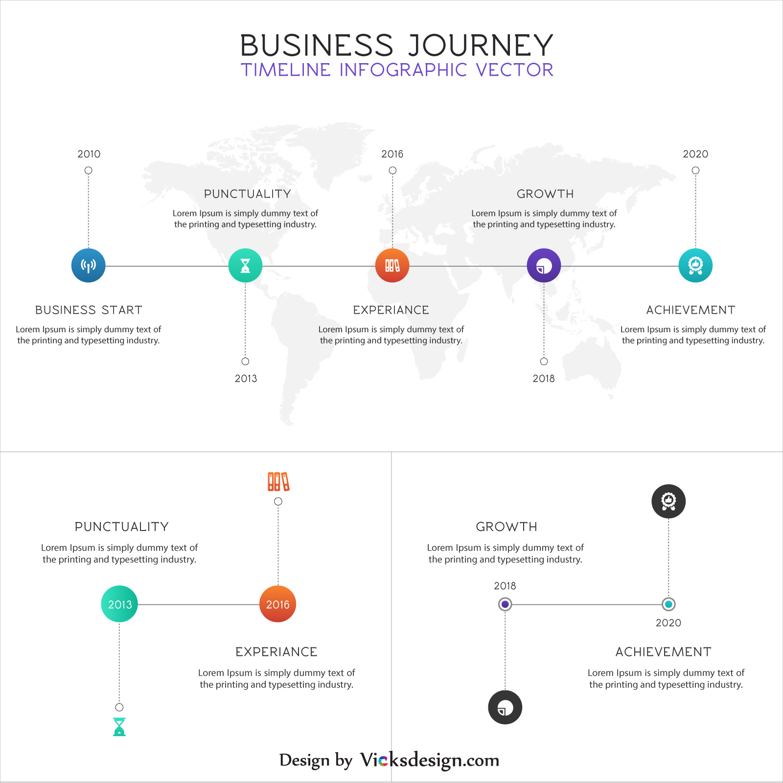 Business journey timeline infographics, start to success journey corporate process, market success concept, company experience in world map vector
