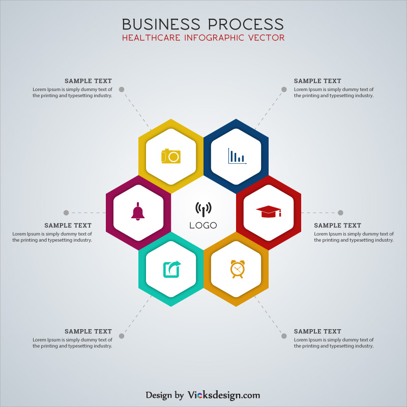 Business process healthcare infographic vector, project start up strategy vector