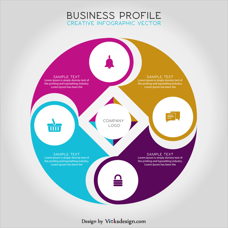 Business profile creative infographic vector, market success concept, 4 points corporate process vector