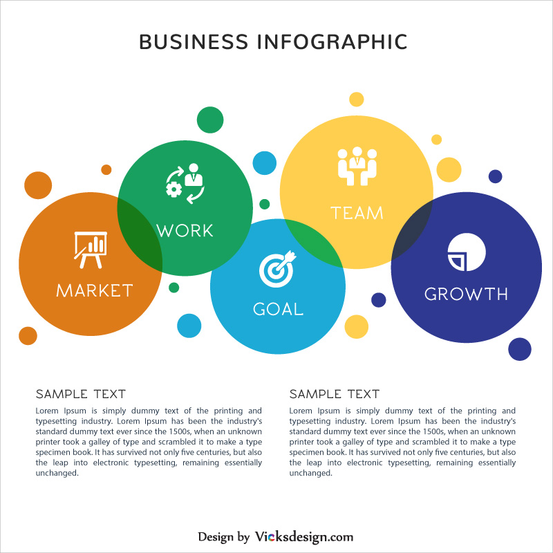 Business success infographic elements, project success steps, 5 points corporate process with content vector graphics
