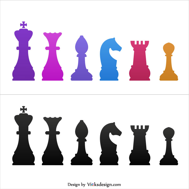 Chess Piecessymbols Illustration King And Queen Bishop Knight