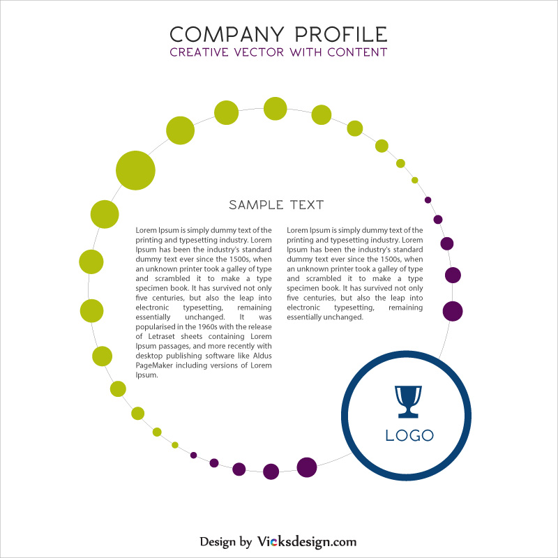 Company profile creative vector with content, business profile, market overview with content vector