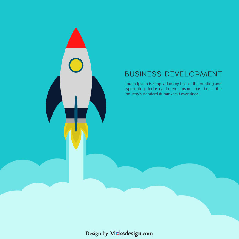 Concept of business growth, creative idea, project start up, development process, ship, flying rocket launch illustration vector