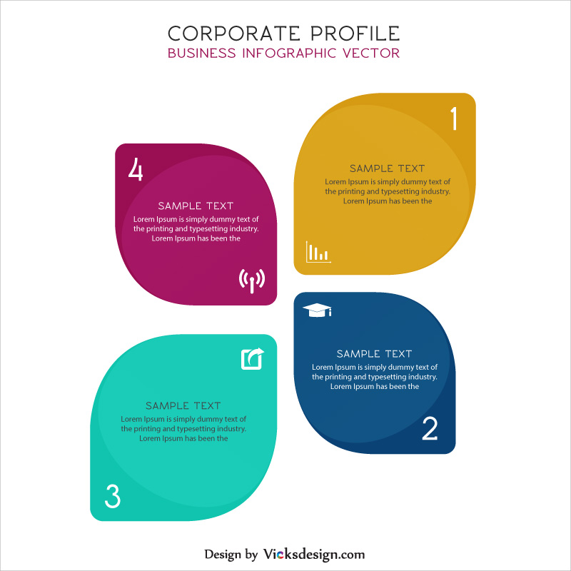 Corporate profile leaves shape info graphic elements, project success steps, about company experience vector