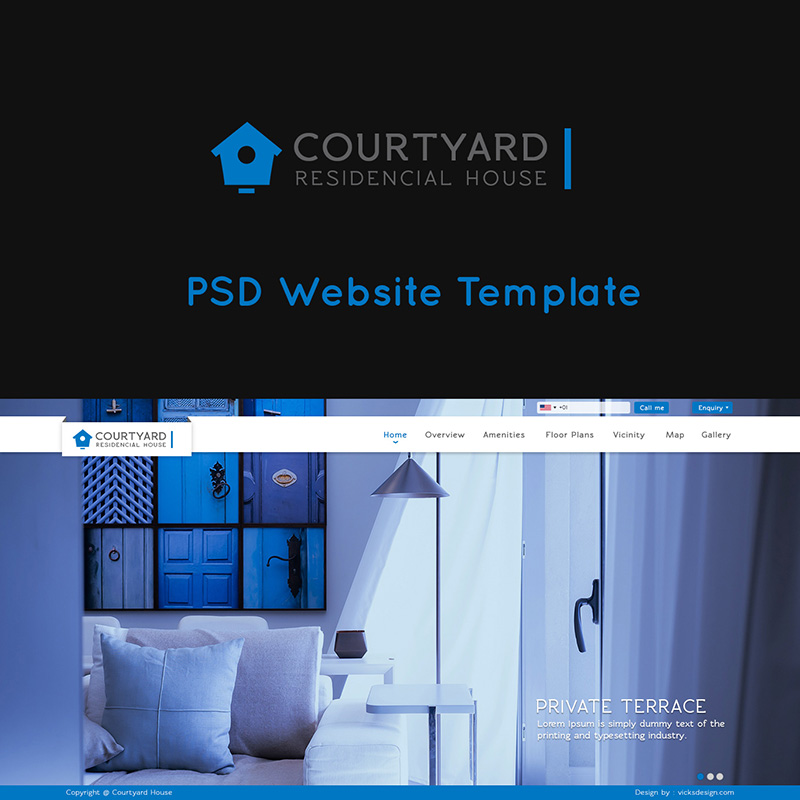 Courtyard Residencial House blue & dark color theme PSD website template