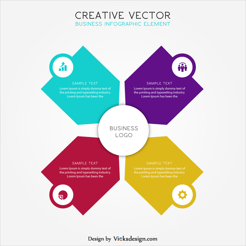 Creative infographic vector, 4 step market success, business growth concept differentiate with 4 color vector graphics