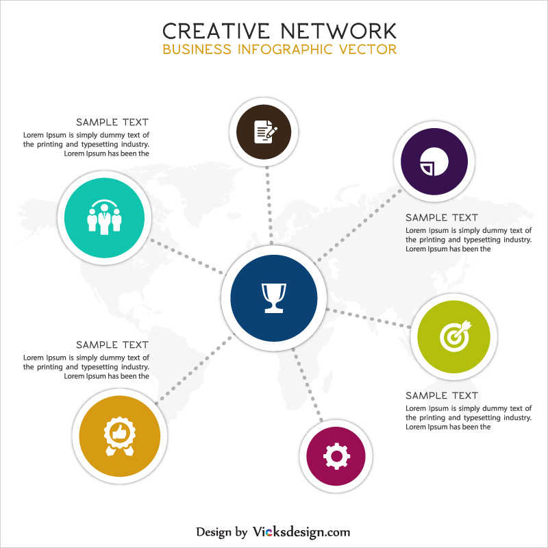 creative network business info graphic design, 6 way success concept vector, corporate profile vector graphics