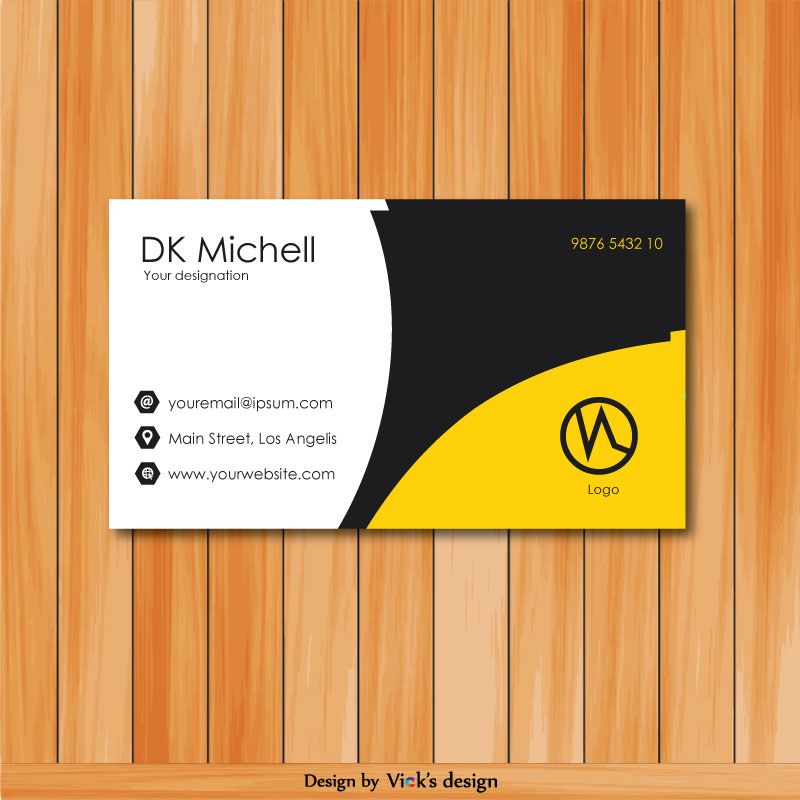 Curves with yellow theme professional business card
