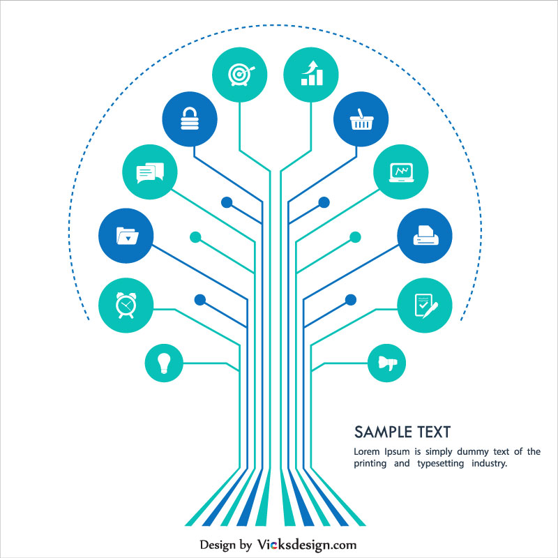 Digital infographics tree diagram, online business vector design