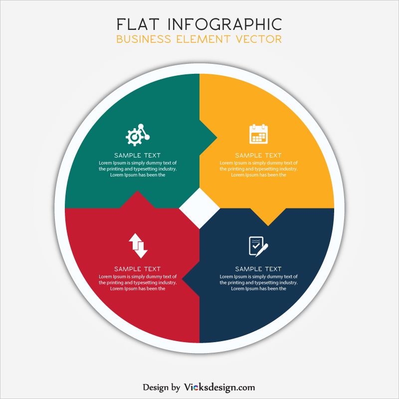 Flat business info graphic circle shape with differentiate 4 points, project success steps, corporate planning vector