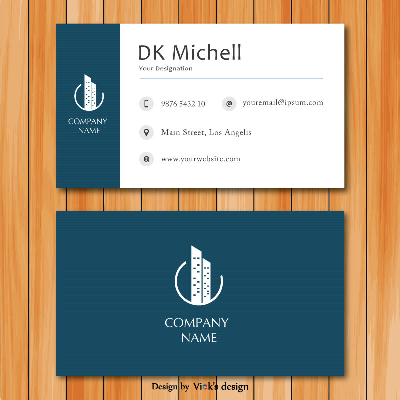 Front & back dark blue color theme with logo corporate business card template