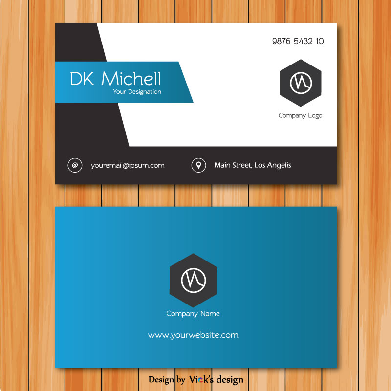 Front & back grey & blue gradient simple corporate business card vector