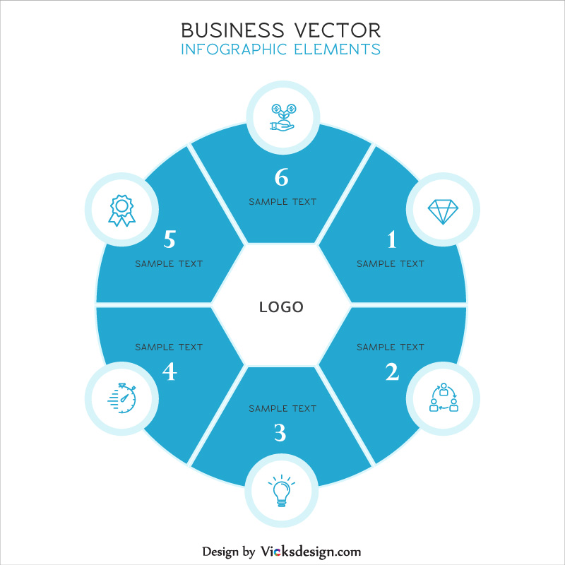 Hexa shape in circle view business info graphic, 6 step about company experience, creative idea, company profile vector