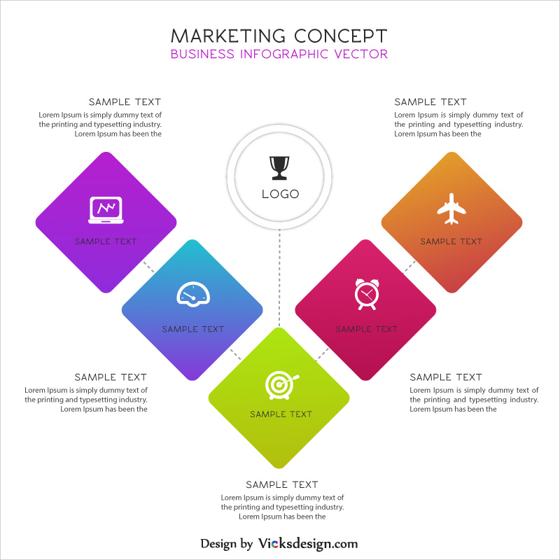 Marketing concept business info graphic vector, market growth, company growth differentiate in 5 way vector