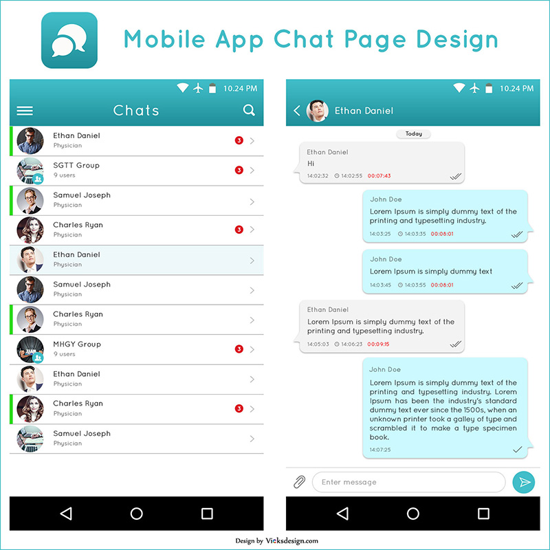 Mobile app chat page PSD template & design