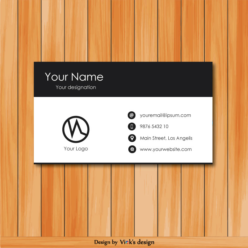 Modern & creative professional black & white corporate business card