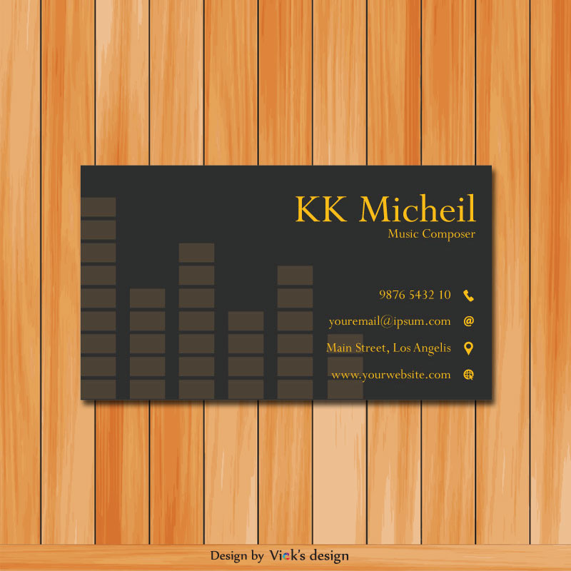 Musical, Rhythm Beat Grey Yellow Theme Business card