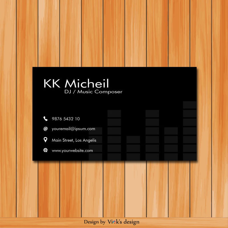 Musician Piano Instrument Business Card Vector