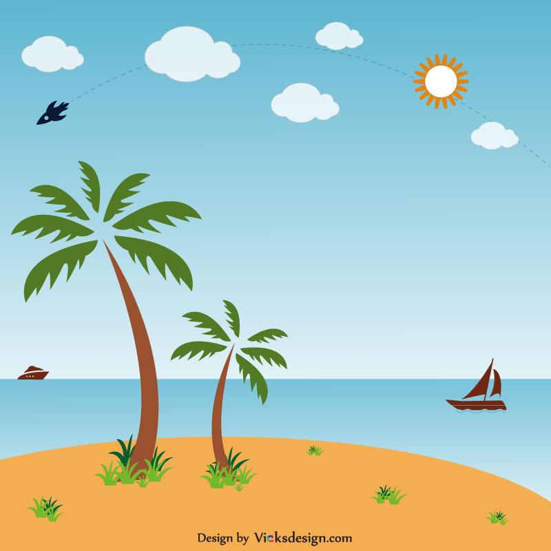 Nature beach scene with palm/coconut trees illustration vector design