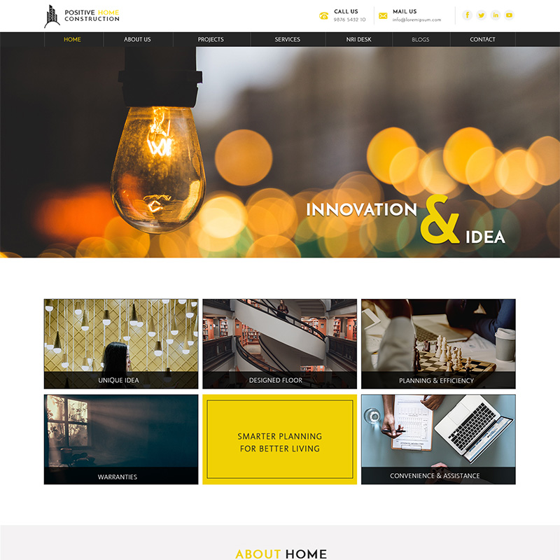 Positive home construction yellow & dark color palettes business PSD website template