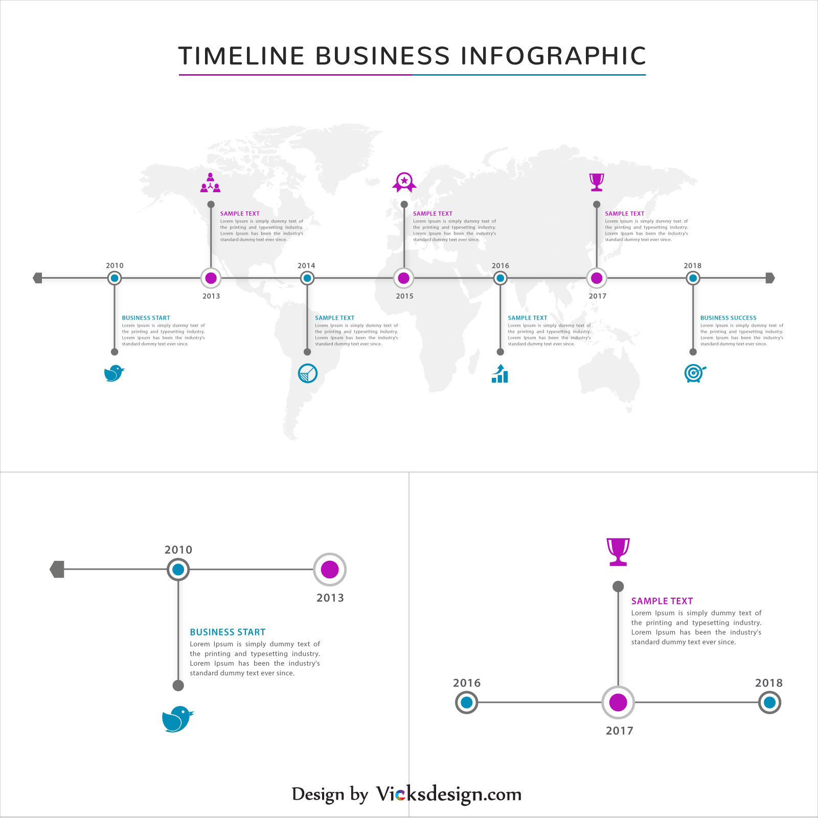 Project success steps, timeline business infographics, about company experience, business success with world map vector graphics