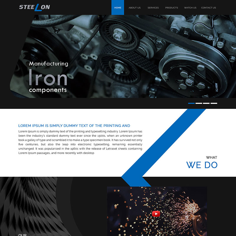 Steelon Manufacture blue color with dark theme PSD website template