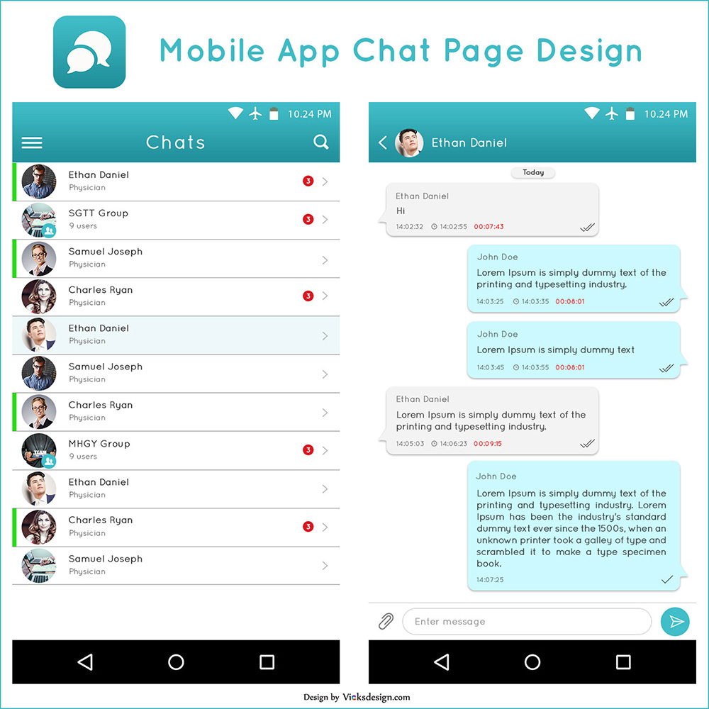 Mobile App Chat Page Psd Template Design